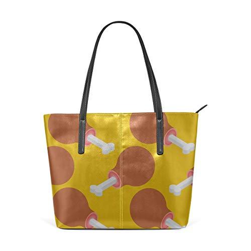Mode Handtaschen Einkaufstasche Top Griff Umhängetaschen Super Delicious Food Ham Large Printed Shoulder Bags Handbag Pu Leather Top Handle Satchel Purse Lightweight Work Tote Bag For Women Girls