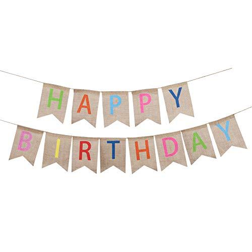 Soleebee Happy Birthday Geburtstag Sackleinen Banner, perfekte DIY Dekoration Dreieck Flagge Wimpelkette für Hochzeit, Babydusche, Geburtstag, Party und Anderen Feiern (Bunt)