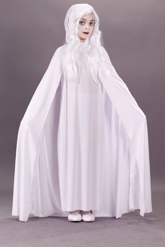 Morris Costumes Gossamer Ghost Child Large Hooded Cape Polyester Popular by Fun World - Gossamer Ghost