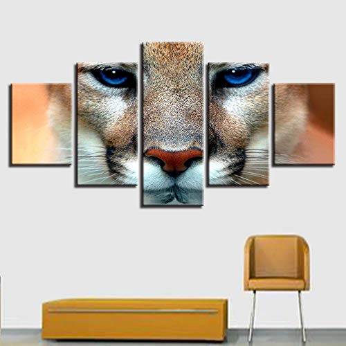 CQMEI Leinwand Malerei, Hd Gedruckt Kunstwerk Dekorative Wohnzimmer Wand 5 Stücke Tier Tiger Blue Eyes Poster Rahmen Modulare Bild Leinwand Kunst