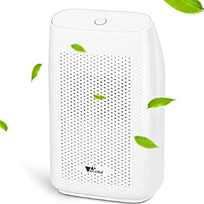 amzdeal 2L Dehumidifier Compact and Portable Dehumidifier For Home Wardrobe Bedroom Bathroom, Removing 750 ml Damp, Mould and Moisture Per Day, Low Energy, White