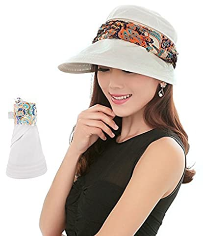 2-in-1 Folding Roll Up Wide Brim Sun Visor Cap UPF 50+ UV Protection Sun Hat with Detachable Neck Protector Hood for Travel Holiday Beach Swimming Cycling Camping Hiking Trekking Running