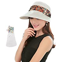 2-in-1 Folding Roll Up Wide Brim Sun Visor Cap UPF 50+ UV Protection Sun Hat with Detachable Neck Protector Hood for… 1