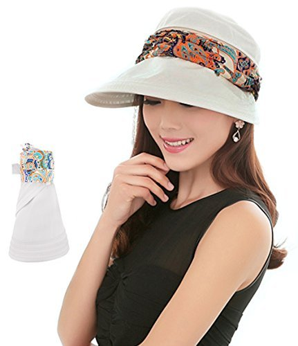 2-in-1 Folding Roll Up Wide Brim Sun Visor Cap UPF 50+ UV Protection Sun Hat with Detachable Neck Protector Hood for Travel Holiday Beach Swimming Cycling Camping Hiking Trekking Running Headwear 1