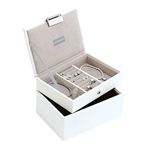 LC Designs STACKERS Ensemble de 2 MINI Blanc Taille–Range Lot de 2 Boîte à bijoux avec une doublure en velours gris.
