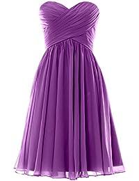 MACloth Women Lace Straps Chiffon Short Bridesmaid Dress Cocktail Formal Gown (EU40, Turquesa)