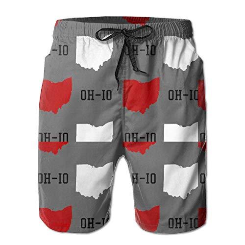 yting Herren New Oh-io State Map Grau Badehose Strand Shorts Hosen mit Mesh-Futter Taschen für Männer,Größe M - State-geschenk-tasche Ohio