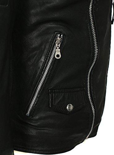 Zakus Homme Biker Regardez Veste en cuir LEUCATE Schulterpolster Col Kent beaucoup poches extérieures Hochwertiges Echtleder Noir