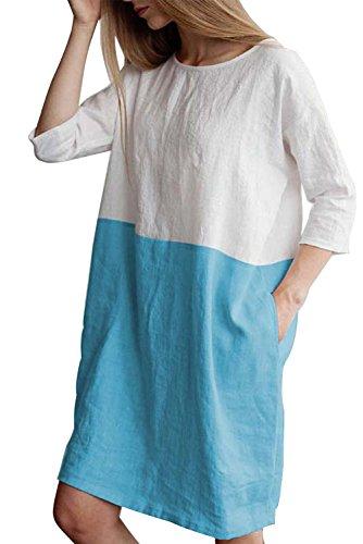 Kleid Womens T-shirt (MAGIMODAC Leinenkleid Damen Tunika T Shirt Kleid Baumwolle Freizeitkleid Strandkleid Minikleid Shirtkleid Longshirt Oversize 36 38 40 42 44 46 48 50 (Himmelblau, Etikett XL/EU 42))