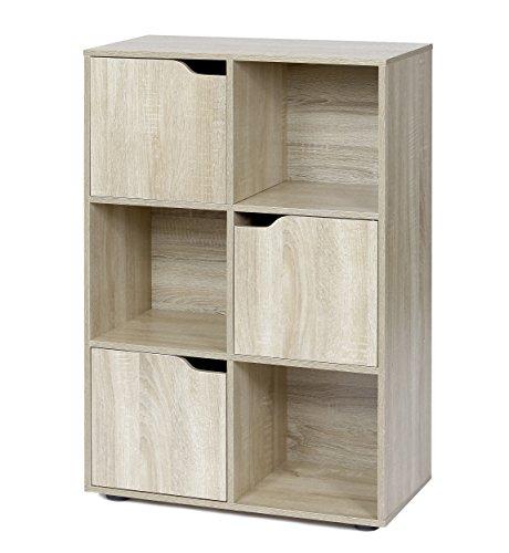 ts-ideen Standregal Bücherregal Sideboard Buchregal Holz Natur Modern mit Türen (Sideboard Bücherregal)