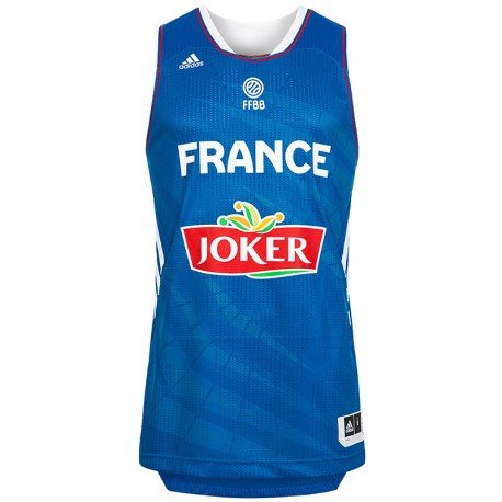 adidas FFBB JSY M BLE - Maillot Basketball France Homme