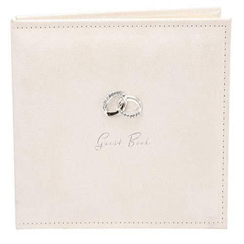 The Emporium Gifts - Libro de firmas para boda, diseño de ante con anillos plateados