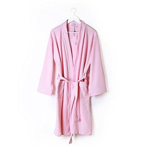 DHG Khan Dämpfende Kleidung Weibliche Modelle Baumwolle, Gaze Bademäntel Langarm Badeanzüge, Hochwertige Heiße Quelle Badetücher,Rosa,XXXL