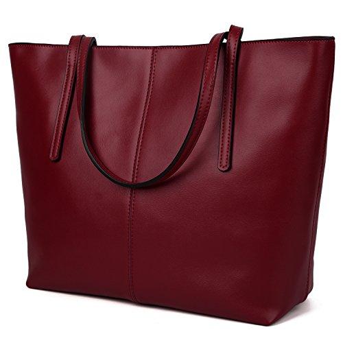 Yaluxe Femme Cabas Sac à Main Portes Epaule Bandoulière Cuir Enduit en Veau Simple Vogue Rouge