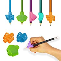 Stylo [6-pack] Ergonomic Pencil Grips Multi-colour Designs - For Left and Right Handed Children and Adults - Comfortable Writing Aid for Improving Handwriting
