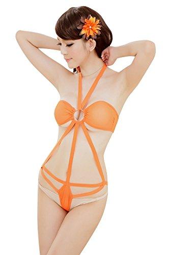 Shangrui Femmes 3-points Sous-vêtements Siamois Perspective Sangles Dentelle Pyjamas W147 Jaune