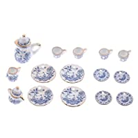 15 Pieces Dollhouse Porcelain Tea Set (Blue and White China) - 1/12 Scale Dollhouse Kitchen Accessories - Pretend Play Toy for Kids Boys Girls