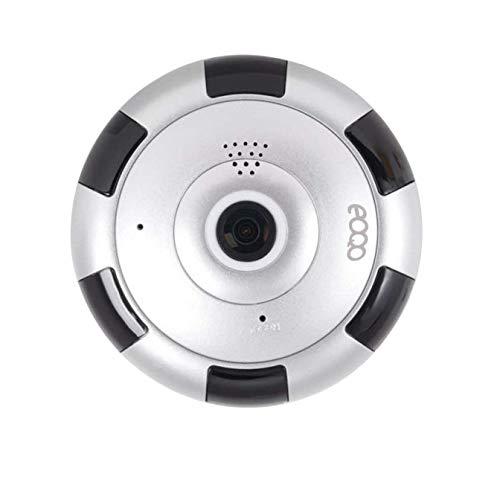 eoqo la casa di sicurezza wireless hd telecamera ip 180 °~ 360 ° angolazione telecamera spia nascosta con v380 applicazione remota vista proposta di individuazione (argento)