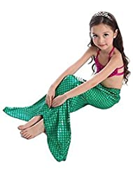 Keysui Mermaid Tail Costume Childs Kids Girl Swimwear Swimsuit 3 Pieces Bikini Set Blue