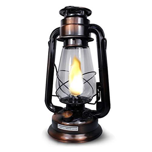 Bronze Kerosinlampe | Hurricane Lampen | Weinlese-Sturm-Laterne beleuchtet | Retro Öllampen | Dekoratives hängendes Innen/Tabellen-Laternen für Haus, Garten, kampierend, verschütten -