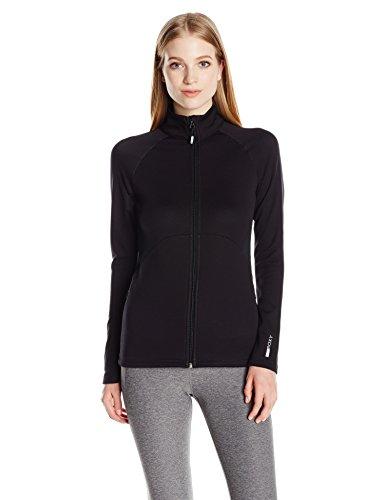 Jet Schwarz 2 Jacke (Roxy Dailyrun Damen Fleece-Jacke mit durchgehendem Reißverschluss - Schwarz - Groß)