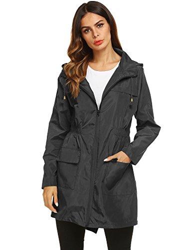Damen Regenjacke Windjacke Regenmantel Übergangs-Jacke Tasche Funktionsjacke Wasserdichter Kapuzenjacke mit Reißverschluss (Large, Schwarz1)