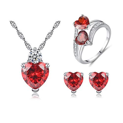 Wiftly Braut 3 Stück/Set Halskette Ohrringe Ring Mode Kristall Herzform Hochzeit Schmuck Geburtstags Geschenk Necklace Ohrring(Rote) Mit schöner Schmuckschatulle (8mm, Rot)