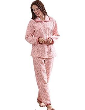 DMMSS A maniche lunghe di MS. accappatoio sottile laminato pigiama di cotone impostato , pink , m