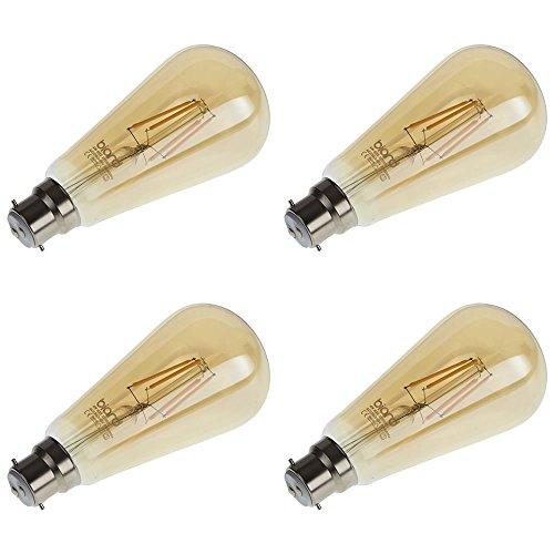 Biard - Pack de 4 Ampoules LED B22 4W à Filaments - Design Ambré Rétro