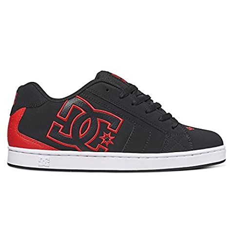 DC Men's Net Low-Top Sneakers, Black (Black/Red), 11