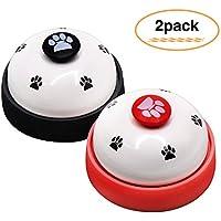 FRETOD Haustiere Ausbildung Glocke 2 Stück Katzen und Hunde Edelstahl Kommunikationswerkzeuge (Schwarz und Rot)