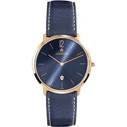 Orologio da uomo Michel Herbelin - 19515/PR15BL - CITY - Data - Cinturino in pelle - Blu Navy e Oro Rosa placcato