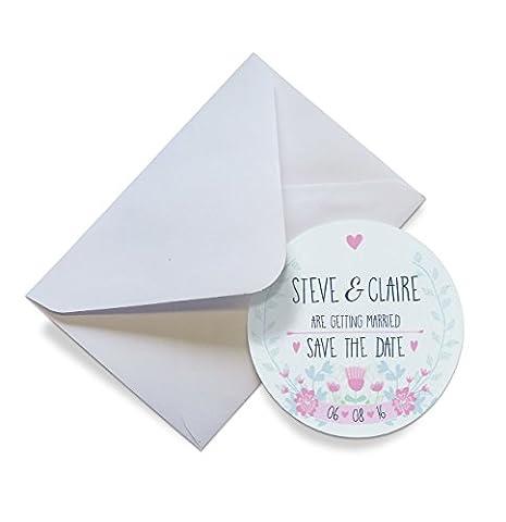 Set von 12+ personalisierbar Save the Date Magneten mit Umschlägen–Leaf Girlande 70mm, 60 Magnets