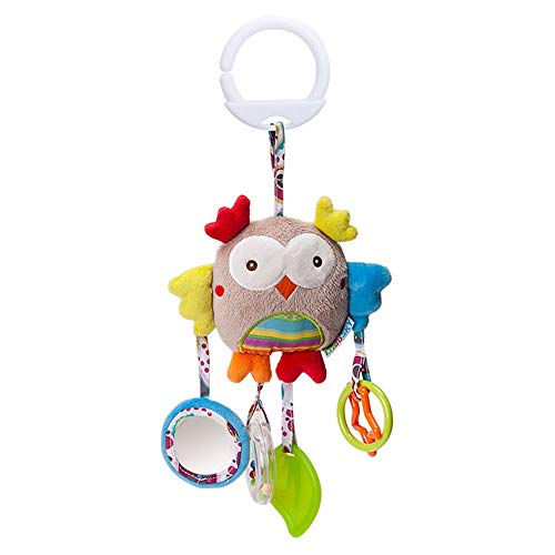 Baby Grow New Born Baby Stroller Toys Bell Bed & Baby Stroller Hanging Soft Rattle (Grey Owl)