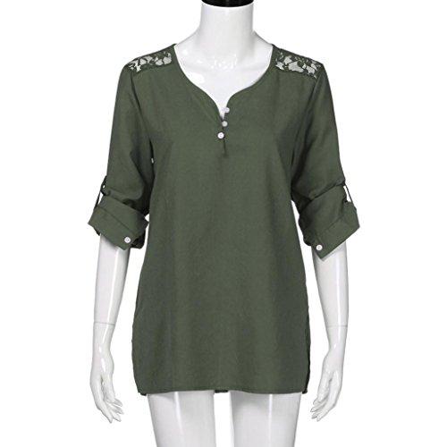 Sexyville Femmes Tops à manches longues Femmes Casual bouton à manches longues en dentelle Patchwork Shirt Top femme chic mode manteau femme grande taille vetement Vert