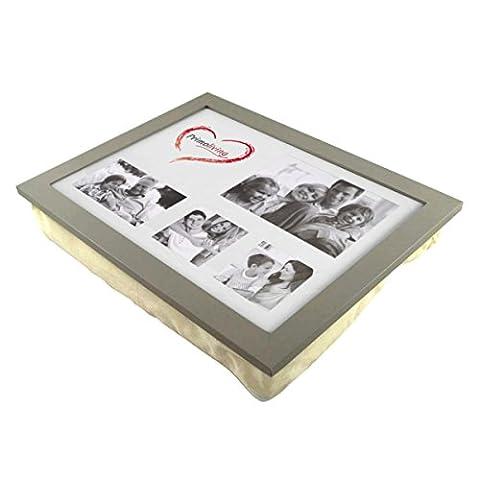 Knietablett P-786 mit Kissen und Fotorahmen taupe grau