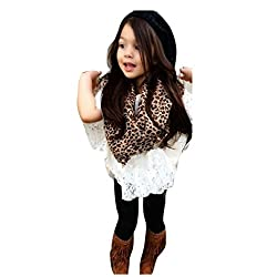 For 1-6 Years old Girls,Clode® Fashion Toddler Girls Vest, Lace Bat Shirt Top , Full Lenght Long Pants and Leopard Scarf 4 Pieces Fall Spring Clothes Outfits Set