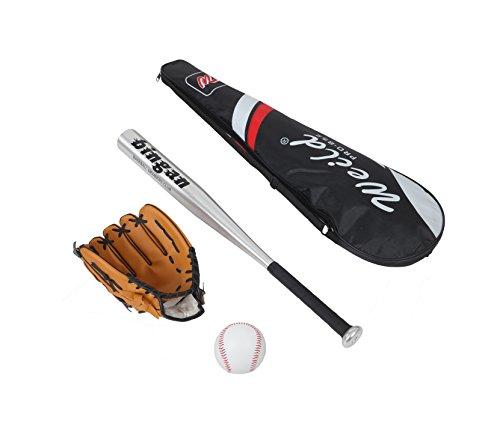 Kit de béisbol compuesto por bate de aluminio, guante de piel, pelota de béisbol de goma y PVC apropiado para principiantes, niños y adolescentes, varios colores disponibles, plateado, 63cm/25 pollici