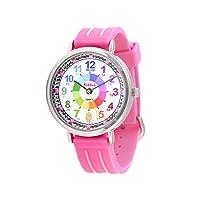 KIDDUS Educatief Kinder Horloge voor Jongens en Meisjes. Analoog Time Teacher Polshorloge met Oefeningen, Japanse Quartz-Mechanisme, Designed om te Helpen de Tijd te Leren. Roze