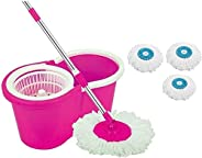 DAIVE's 360° Spin Floor Cleaning Bucket PVC Mop with 3 Microfiber Refill with Wheels (P