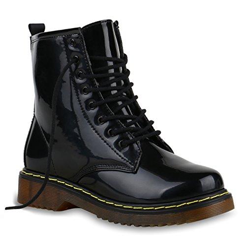 Herren Worker Boots Schwarze Schnürstiefel Lack Profilsohle Schwarz Lack