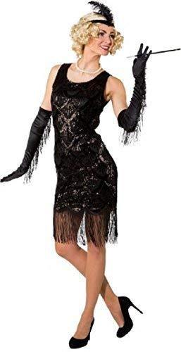 Fancy Me Damen 1920s Jahre 20s Deluxe Schwarz Pailletten Charleston Retro Flapper Kostüm Kleid Outfit - Schwarz, UK 10-14 (Deluxe Pailletten Flapper Kostüm)