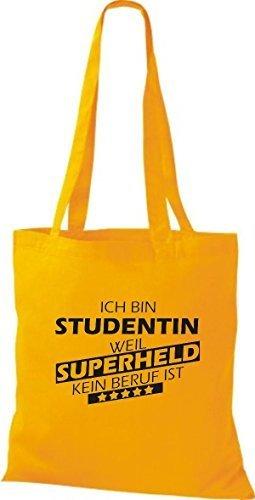 Shirtstown Stoffbeutel Ich bin Studentin, weil Superheld kein Beruf ist goldgelb