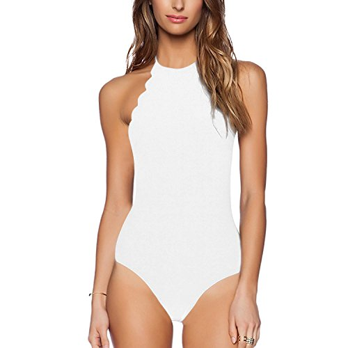 Yolev Badeanzug Monokini Bandage rükenfrei Badebekleidung für Damen (XL, Neckholder (Weiß)) (Weißes Neckholder-badeanzug)