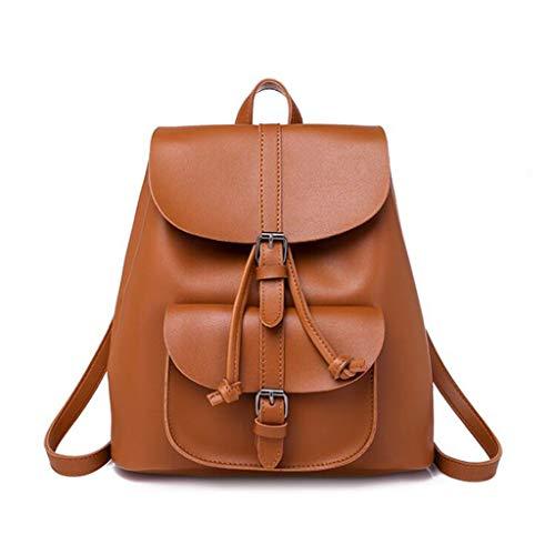 KJVHJN Damen Vintage PU Rucksack Mode Kordelzug Akademie Tasche (Farbe : Brown, größe : One size)