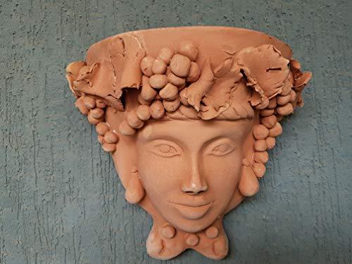 Testa Porta pianta da Parete in Terracotta. Gerla. Fioriera. Le ceramiche di Ketty Messina