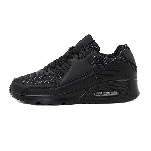 Trendy Unisex Donna Bambini Mens Scarpe Da Corsa Sneaker Allacciata Sneaker Sportivo Fitness Glitter Nero