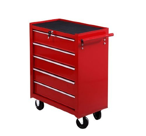 Homcom® Fahrbarer Werkstattwagen Werkzeugwagen Rollwagen Werkzeugkasten mit 5 Schubladen rot - 3