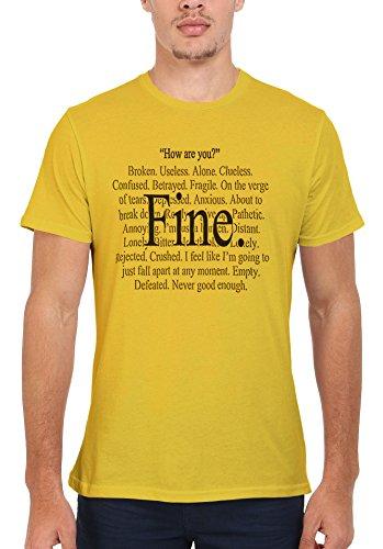 Everything is Fine Emotional Funny Men Women Damen Herren Unisex Top T Shirt Licht Gelb