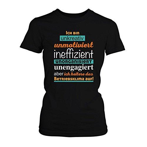 Fashionalarm Damen T-Shirt - Ich heitere das Betriebsklima auf | Fun Shirt  mit Spruch